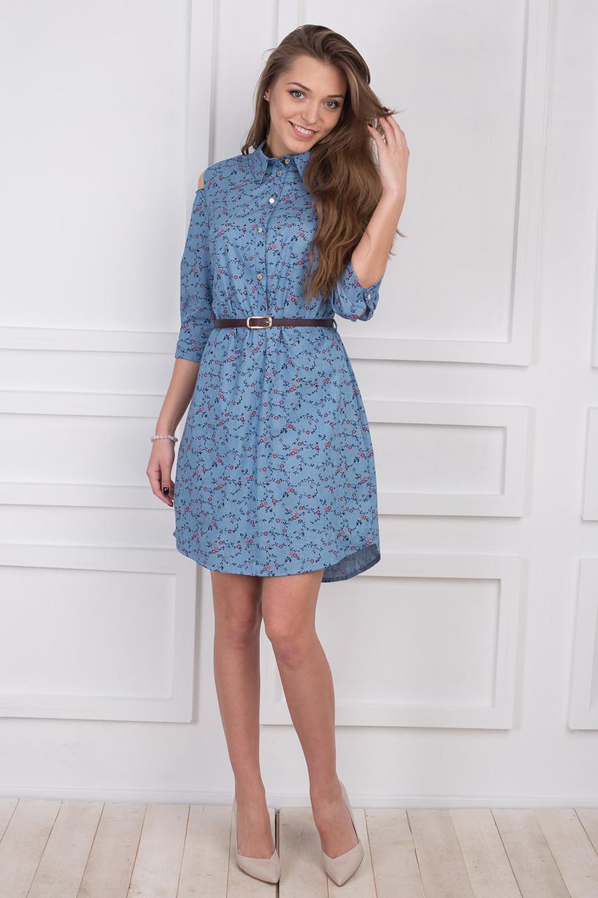 fce7e5894039807 Стильное джинсовое платье с открытыми плечами рубашечного стиля -  Оптово-розничный магазин одежды