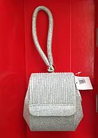 Сумочка-клатч вечерняя с цепочкой на плечо цвет светлое серебро