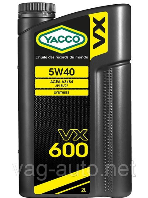 Моторное масло YACCO VX 600 5W40 (2L) VAG 502/505