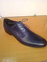 Туфли мужские  кожаные на шнурках классические синего цвета
