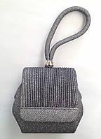 Сумочка-клатч вечерняя с цепочкой на плечо цвет темное серебро