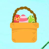 Аппликация, наклейка на ткань Корзина с пасхальными яйцами  [7 размеров в ассортименте]