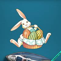 Наклейки на челочно-носочные изделия Кролик с пасхальными яйцами [7 размеров в ассортименте]
