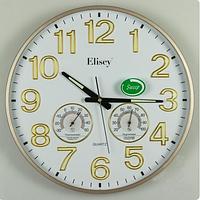 Часы настенные с термометром и гигрометром (38 см)