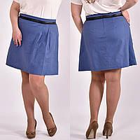 Льняная юбка для полных женщин 0483 джинс 58 размер