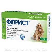 Фиприст спот-он капли на холку от блох, клещей и власоедов для собак 10-20 кг (1 пипетка)