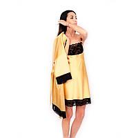 Женская ночная сорочка из шелка золотого цвета