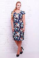 Платье из поплина c голубыми цветами IRIS темно-синее