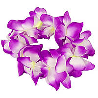 Венок на голову гавайский (бело-фиолетовый) 060417-001