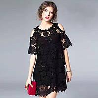 Платье летнее кружевное легкое 019 оптом белое, черное, бирюза, пудра