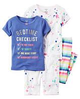 Набор хлопковых пижам Вечерний список дел Картерс 4-Piece Snug Fit Cotton PJs