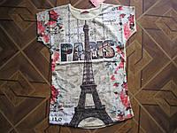 Детские 3-Д футболки Париж для девочек 7-13 лет Турция