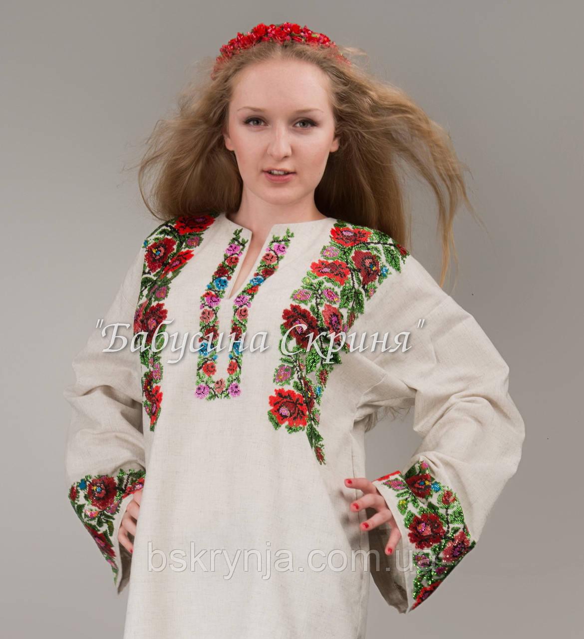 Заготовка Борщівської жіночої сорочки для вишивки нитками/бісером БС-50(1)
