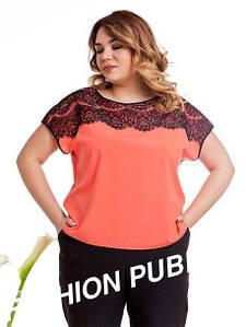 Блуза большого размера с кружевом короткий рукав