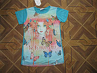Детские летние футболки 3-Д для девочек 7-13 лет Турция