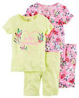 Набор хлопковых пижам Привет, лето Картерс 4-Piece Snug Fit Cotton PJs