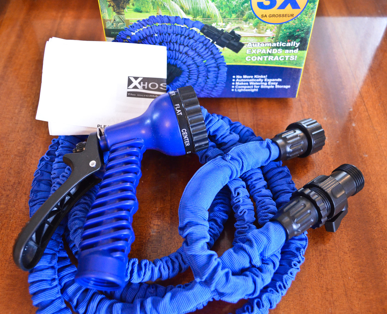 Длина 37,5 метров, шланг с насадками для полива X-hose Икс-хоз садовый поливочный шланг.