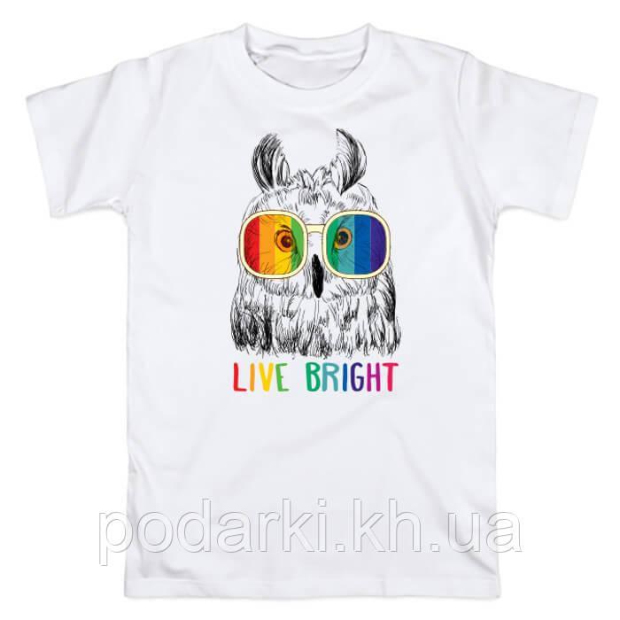"""Креативная футболка для девушки """"Живите ярко"""""""