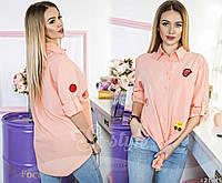 Женская длинная рубашка с яркими нашивками