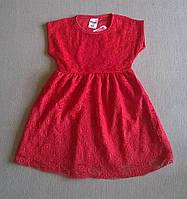 Гипюровое Платье для Девочки Цвет Красный Рост 92-104 см см