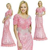 Платье розовое расшитое бисером и стеклярусом