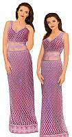 Платье розовое ажурное  расшитое бисером