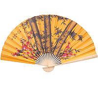 Веер настенный китайский Бабук с сакурой на оранжевом фоне