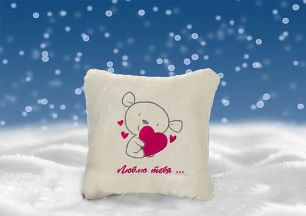"Декоративная подушка с вышивкой ""Люблю тебя"", фото 2"