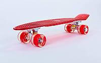Penny board TRANSPARENT led wheels, красный со светящимися колесами