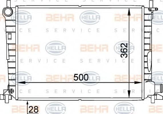 Радиатор охлаждения Ford Fiesta 1996- (1.8D-TD-DI) 500*363мм по сотах KEMP