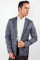 Пиджак мужской с контрастными вставками 2404/1 (Темно-серый)