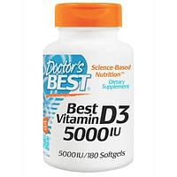 Doctors Best, Лучший витамин D3, 5000 международных единиц, 180 мягких капсул