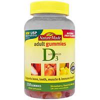 Nature Made, Жевательные витамины для взрослых, Витамин D3, со вкусом клубники, персика и манго, 150 жевательных таблеток