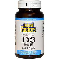 Natural Factors, Витамин D3, 5000 МЕ, 360 гелевых капсул
