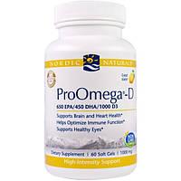 Nordic Naturals, ПроОмега-D, пищевая добавка с омега-3 и витамином D3, с лимонным вкусом, 1000 мг, 60 мягких желатиновых капсул с жидкостью