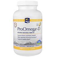 Nordic Naturals, ПроОмега-D, пищевая добавка с омега-3 и витамином D3, с лимонным вкусом, 180 мягких желатиновых капсул с жидкостью