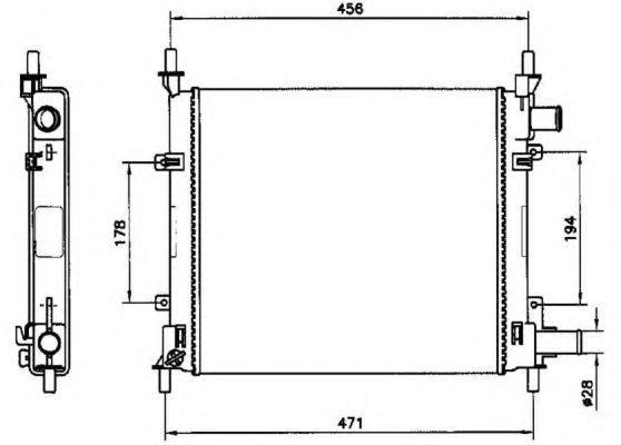 Радиатор охлаждения Ford KA 1996-2008 382*365мм по сотах KEMP