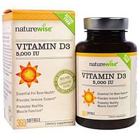 NatureWise, Витамин D3, 5000 IU, 360 мягких капсул