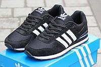 Женские кроссовки ADIDAS, замша + плотная сетка, черно белые / беговые кроссовки женские Адидас, удобные
