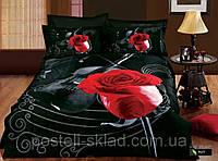 Постельное белье Violin  сатин фотопринт 3D, ТМ Arya (Ария) Турция, белый черный красная роза скрипка
