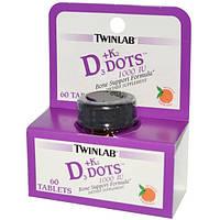 Twinlab, D3 + К2, природный вкус мандарина, 60 таблеток