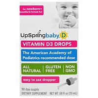 UpSpring, Витамин D3 в Каплях, для Ребенка, 0,68 жидких унций (20 мл)