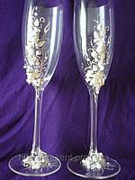"""Свадебные бокалы для жениха и невесты, ручная работа """"Нежная романтика"""""""