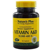 Natures Plus, Витамины A и D, 10000 и 400 МЕ, 90 таблеток