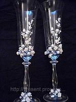 """Свадебные бокалы для жениха и невесты, ручная работа """"Торжественные"""""""
