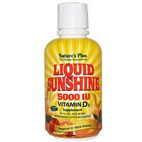 Natures Plus, Liquid Sunshine, добавка с витамином D3, тропический аромат цитрусовых, 5000 МЕ, 16 жидк. унц. (473,18 мл)