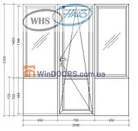 "Балконный блок ПВХ ""Чебурашка"" WHS HALO, 5-этажка Хрущевка 2100х2000 мм"