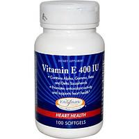 Enzymatic Therapy, Витамин E, для здоровья сердца, 400 МЕ, 100 гелевых капсул