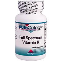Nutricology, Витамин K полного спектра, 90 мягких капсул