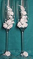 Свадебные бокалы для жениха и невесты, ручная работа Белая роза